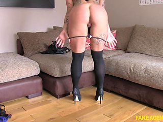 Busty brunette prepares her pussy with fingers for a stranger's shaft