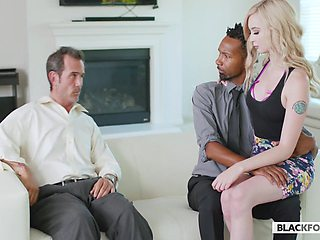 Naturally pale cowgirl Lexi Lore keeps riding emotional black dude
