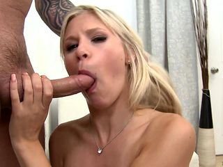 Blonde sweetie gives giving oral pleasure to her horny fuck buddy