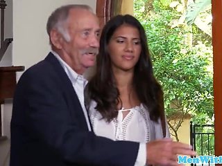 Mexican beauty fucks with old man