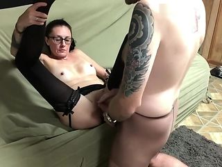DR BJ CUMMINGS TREATS NYLON FETISH ADDICT WITH HER THROAT AND HOT CUNT!!!