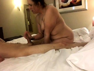 Fat mature brunette has a young stud fulfilling her needs