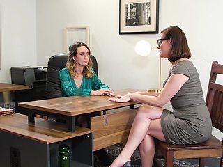 Pornstars Sovereign Syre & Jade Nile having sex on the office table