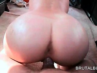 Brunette in glasses pussy nailed doggy style