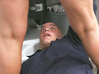 Handyman Plows Sexy Blonde MILF at the Kitchen