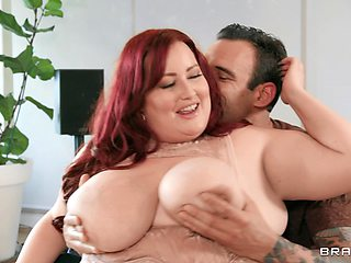 Aroused redhead with fat ass, naughty BBW action on a huge dong