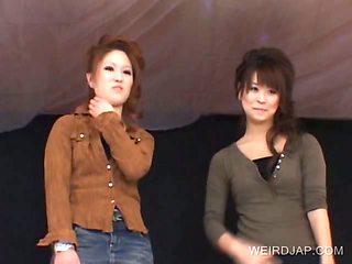 Asian babes show cunts upskirt