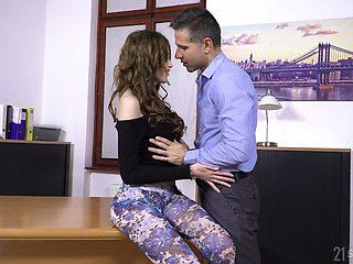 Lustful secretary Gisha Forza is fucked anally right on the boss's table