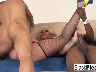 Busty MILF Kelli gets both black and Asian dicks