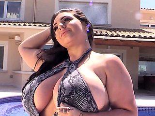 MILF Yasmin gets her massive tits wet
