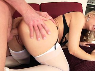 Blonde with gigantic melons is in heaven fucking with hard dicked bang buddy Mark Wood in anal porn action before she gets her mouth banged