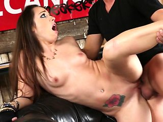 Amazing brunette riding a hard cock in the garage