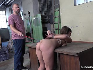 Bent over the table and spanked, tied up slave Laura Noiret