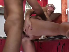 Cooking a creampie with mature mama on kitchen
