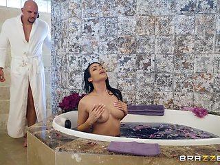 busty milf gets fucked in the bathtub
