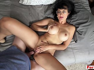 Hot brunette stepmom taboo fuck with lucky stepson
