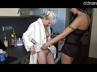 Hot granny fucking one brunette wife with shaved pussy in