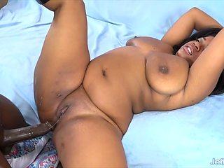 Big boobed ebony BBWs get their dark chocolaty pussy get fucked deep and good