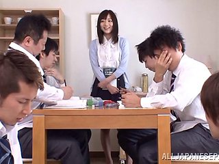 Rough gangbang in the office is all about Yuu Asakura talking