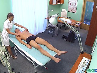Lucky dude uses his chance to bang charming nurse Mea Melone