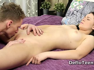 Pussy licked Adelyn Abbe is covered in cum after defloration