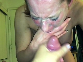 Hot mature wife with big hooters deepthroats a cock in POV