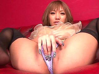 Japanese girl is fucked after five vibrators masturbate her pussy