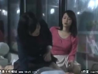 Shiny bra on Japanese slut in hardcore threesome