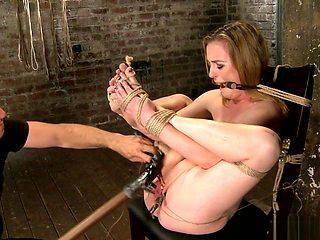 Gagged tied slut is pussy fucked