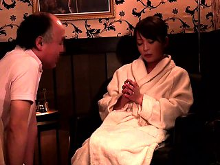Pretty Asian babe gets massaged and fucked by an older man