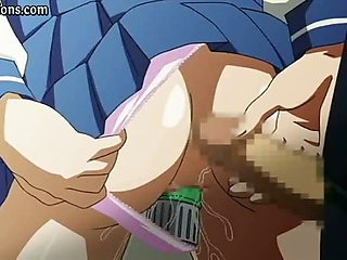 Anime chick enjoys a toy in cunt