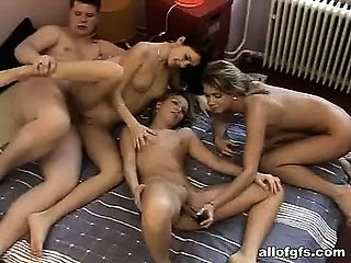 My ex girlfriend treating me with a foursome fuck