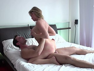 Big booty mom filmed when riding younger man's penis