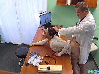 Horny brunette Alexis getting fucked in all possible ways by her doctor