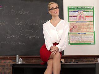 Slutty teacher Ariel Anderssen gets naked and tells erotic stories