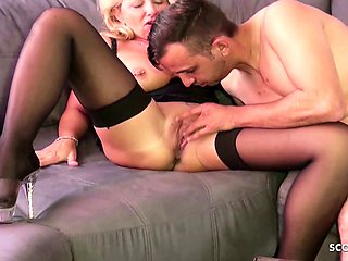 Lonely German Wife talk the Young Neighbour to Cheating Sex