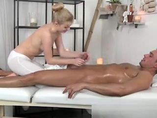 Masseuse Beauty Jerking On Dick For Client