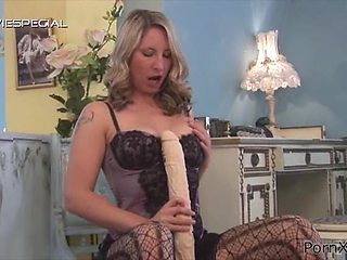 Hot blonde slut gives handjob before toy screwing her tight pussy
