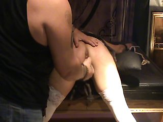 Naughty blonde gets gagged, tied up and whipped on her ass