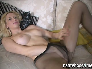 busty blonde in nylons naked