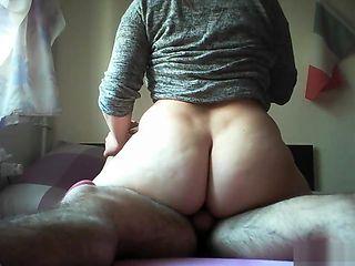 Amateur riding big dick chubby ass