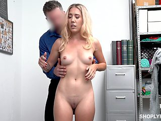 Shop lifter leaves security man to fuck her pussy and ass
