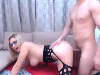 Stacked blonde camgirl in lingerie gets fucked from behind