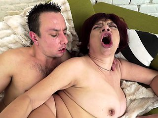 Stunning mature enjoys active sex with young beau