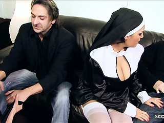 Two Hot MILF Moms Nuns Talk to Rough Fuck at FFMM Foursome