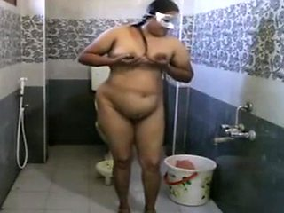 Big aunty Bathing