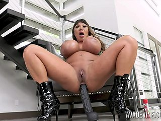 Giant breasted whore Ava Devine loves teasing herself at home