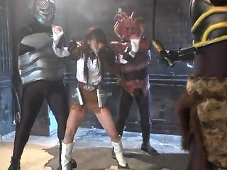 Delightful Asian teen in uniform gets used by masked guys