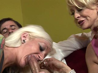 Two super slutty grannies are eager to share a terrific pecker