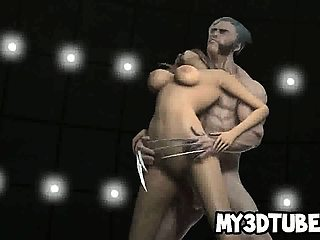 Yummy 3D cartoon babe gets fucked hard by Wolverine